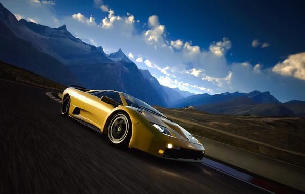 Picture road, landscape, retro, coupe, Lamborghini, supercar