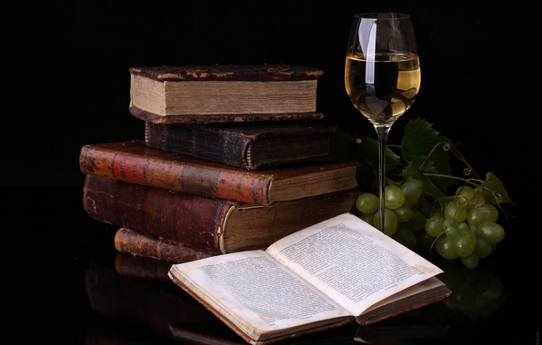 Picture reflection, wine, glass, books, grapes, food for thought