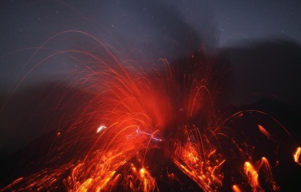 Picture zipper, the volcano, lava