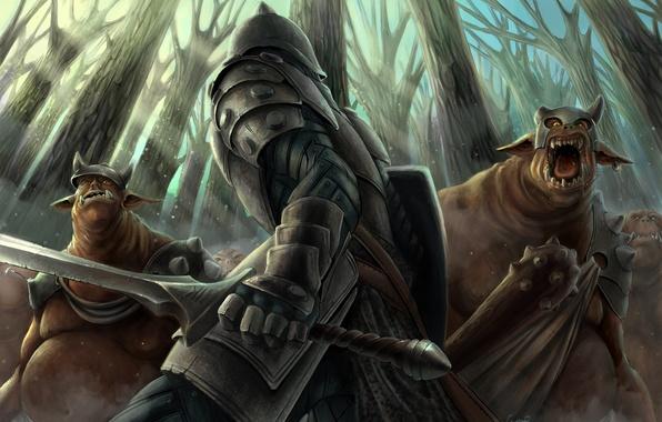 Picture forest, sword, armor, warrior, art, monsters, m-black