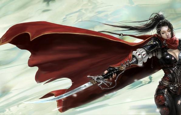 Picture Girl, armor, cloak, blade, assassin