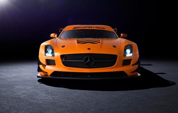 Picture orange, Mercedes-Benz, AMG, SLS, GT3, front, orange, Mercedes Benz