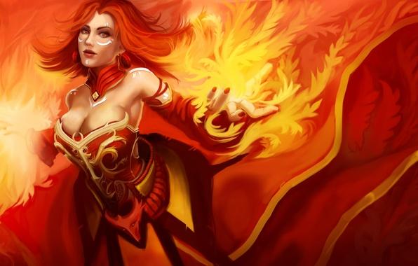 Picture girl, fire, art, slayer, dota 2, lina, moba, the slayer