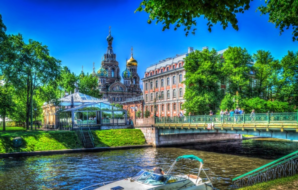 Picture trees, bridge, river, home, treatment, Saint Petersburg, Church, channel, temple, Russia
