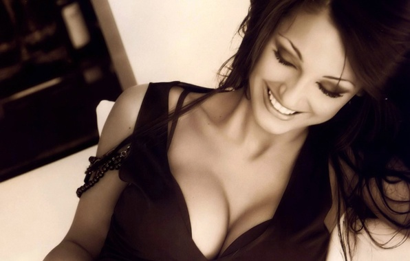 Picture Girl, Chest, Smile, Sepia, Hair