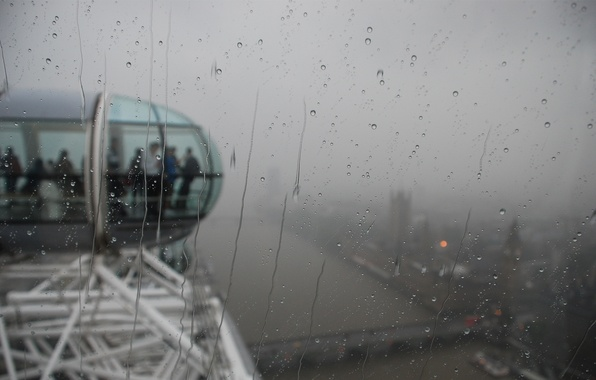 Picture glass, drops, city, the city, people, rain, moisture, London, attraction, london, london eye, booths