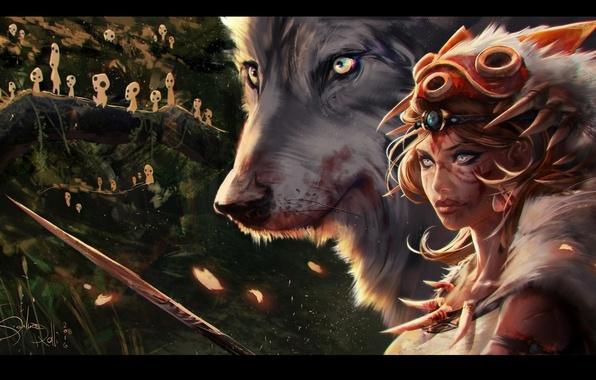 Picture forest, look, girl, trees, wolf, art, Princess Mononoke, Princess mononoke