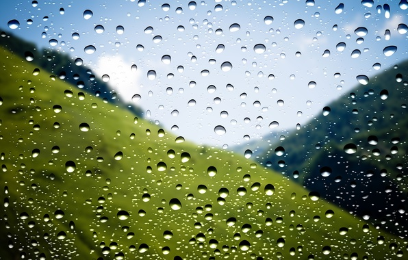 Photo wallpaper Drops, Window, Makro, Rain