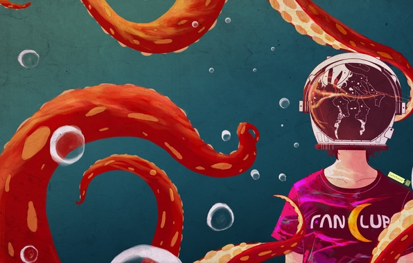 Picture glass, girl, reflection, art, octopus, tentacles, helmet