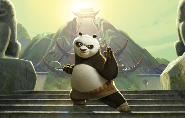 Picture cartoon, steps, the kung fu Panda 2