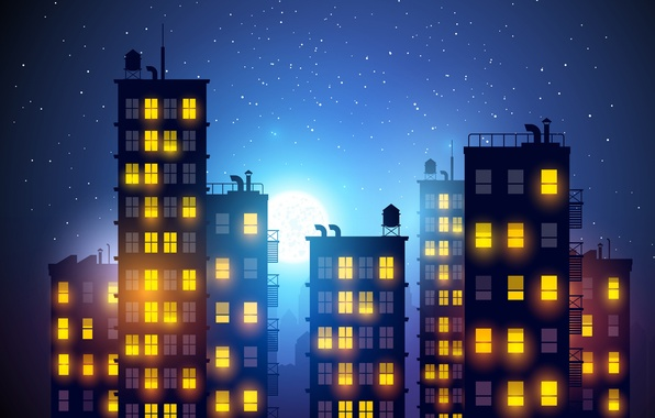 Picture the sky, light, night, the city, the moon, romance, figure, the building, Windows, home, stars, ...