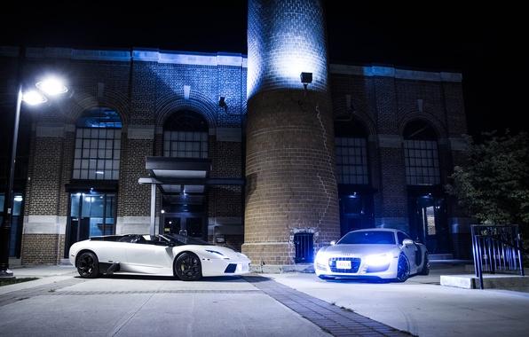 Picture white, night, Audi, audi, silver, white, lamborghini, murcielago, lp640, spyder, headlights, Lamborghini, Murcielago