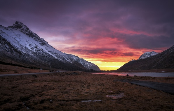 Picture road, mountains, dawn, morning, valley, Norway