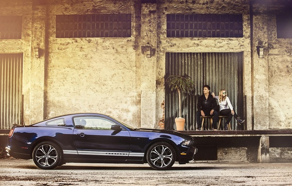 Picture girl, Ford, mustang, guy