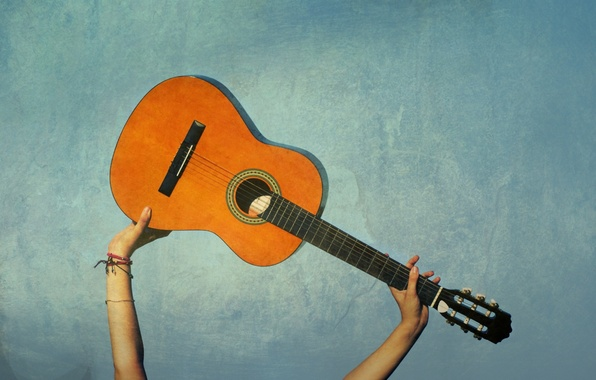 Picture music, background, mood, blue, guitar, hands