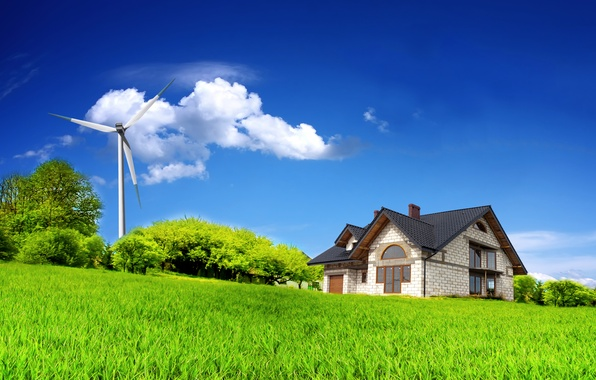 Picture field, summer, the sky, clouds, trees, house, house, sky, trees, field, clouds, windmill, Summer, alternator, …