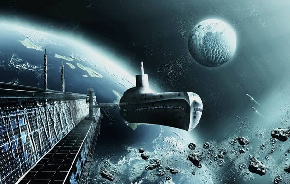 Picture space, ship, planet, orbit, space, ship, spaceport