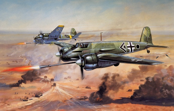 Picture aviation, the plane, war, attack, German, Henschel Hs.129 B3 (can opener) firearms system 75 mm, …