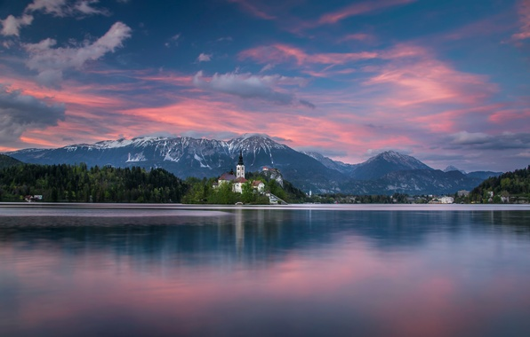 Picture sunset, mountains, lake, island, Slovenia, Lake Bled, Slovenia, Lake bled, Bled, Bled, The Julian Alps, ...
