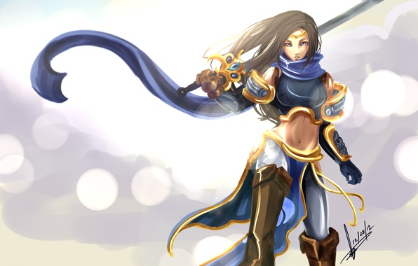 Picture girl, sword, armor, League of Legends, fanart, LoL, Garena