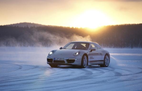 Picture sunset, background, 911, Porsche, skid, Porsche, the front