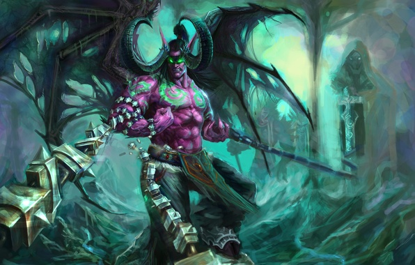 Picture wings, the demon, rage, horns, WoW, Stormrage, chain, World of warcraft, illidan