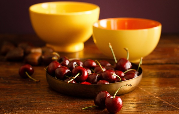 Photo wallpaper table, bowls, Wallpaper from lolita777, pair, still life, fruit, food, yellow, cherry