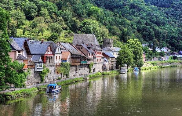 Picture river, photo, home, The city, Germany, boats, Causenow