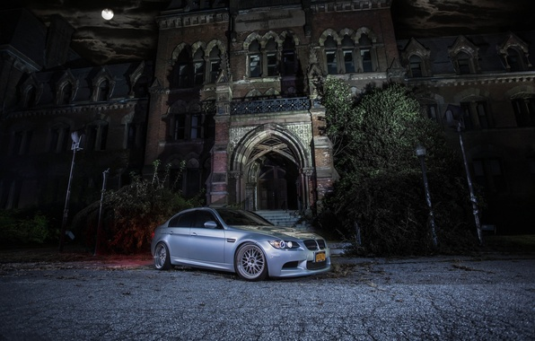 Picture night, the moon, the building, bmw, BMW, silver, drives, e90, silvery