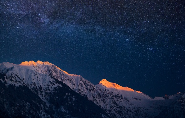 Picture the sky, stars, mountains, the evening, Germany, Bayern, Alps, twilight, The Milky Way