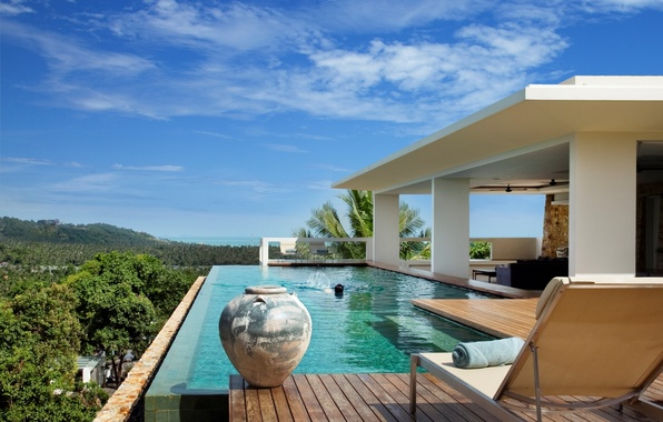 Picture palm trees, mood, stay, Villa, pool, relax