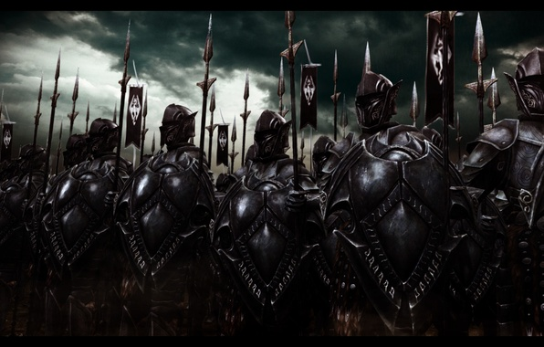 Picture army, art, warriors, Stroy, Skyrim, The Elder Scrolls, Skyrim, The elder scrolls, ebony armor