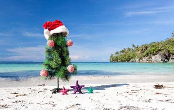 Picture sand, sea, beach, decoration, toys, tree, New Year, shell, beach, sea, sand, shore