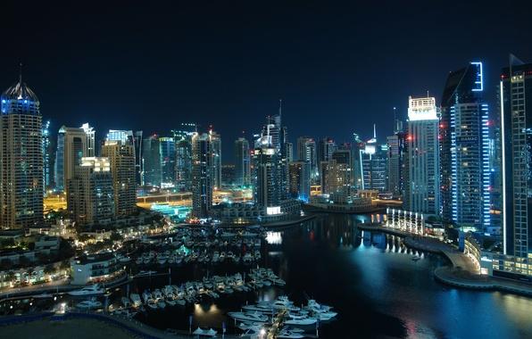Picture city, home, port, Dubai, boats, Dubai, skyscrapers, Emirates, night., United, Arab, Emirates, Dubai marina, Arab, …