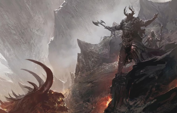 Picture mountains, the demon, lava, helmet, axe, warriors, Horny