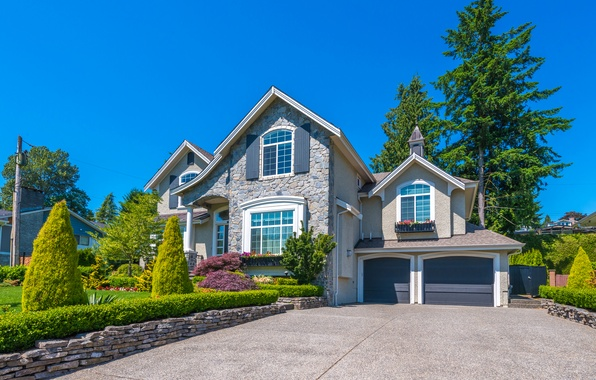 Picture the sky, the sun, trees, flowers, design, house, lawn, mansion, the bushes