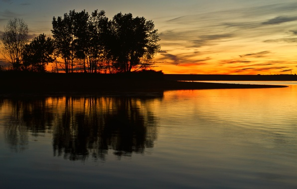 Picture clouds, trees, lake, reflection, mirror, silhouette, twilight, orange sky, power line