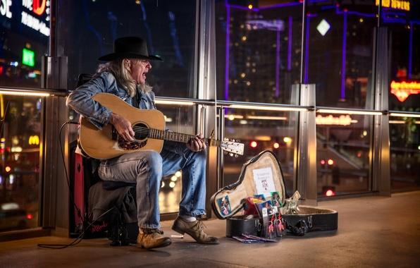 Picture guitar, man, Vegas, street performer