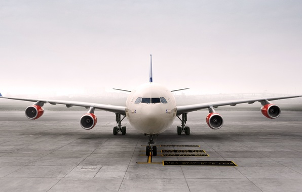 Picture Fog, The plane, Wings, Aviation, Passenger, Airbus, The front, Airliner, A340, Turbine