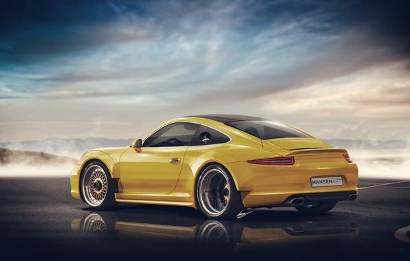 Picture Porsche 911, yellow, rear, Widebody, Hansen Type