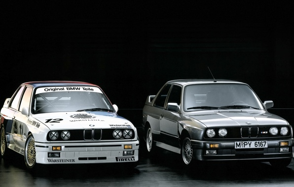 Picture BMW, black background, DTM, E30, racing car, 1987, the front.grey