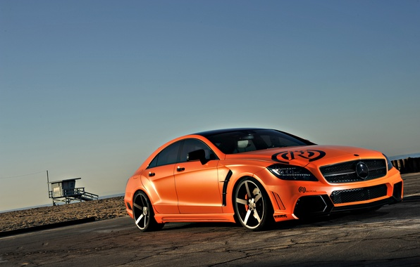 Picture beach, the sky, orange, tuning, Mercedes-Benz, AMG, orange, Mercedes Benz, CLS-class, C218, CLS 63