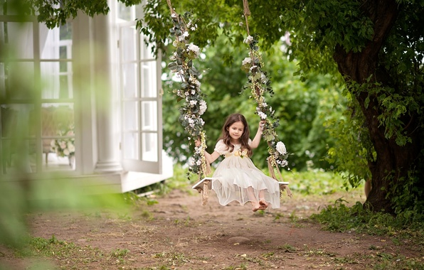 Picture summer, childhood, swing, tree, dress, girl, daydreaming, cottage