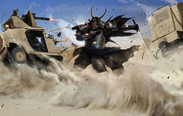 Picture sand, machine, desert, sword, katana, art, samurai, soldiers, hummer, samurai, adonihs