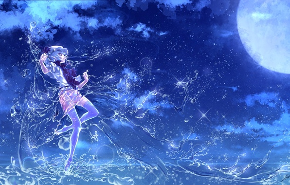 Picture water, girl, night, magic, the full moon, touhou, remilia scarlet, art, etna