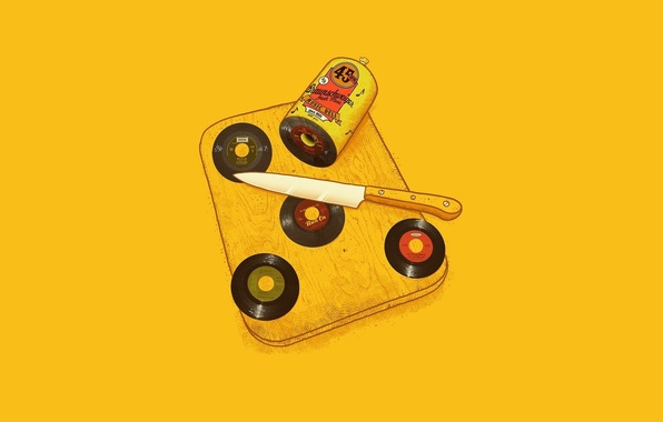 Picture Minimalism, Knife, Drives, Yellow, Sausage, Braunschweiger