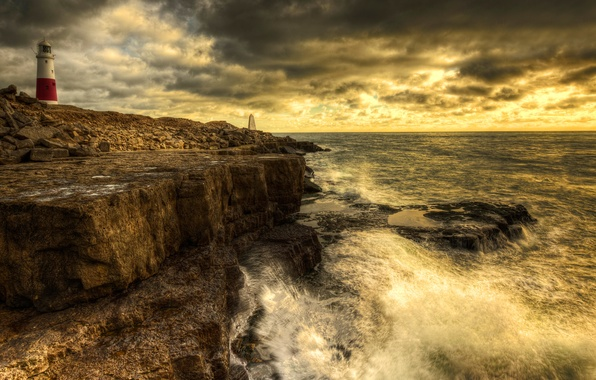 Picture lighthouse, surf, Portland Bill, Dorset