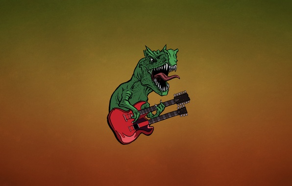 Picture language, red, green, guitar, dinosaur, minimalism, teeth, hard, lizard, fangs, guitar, dino, dark background, dinosaur