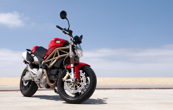 Picture red, Ducati, Monster, beach, road, sky, 696