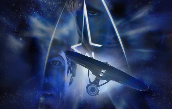 Photo wallpaper Space, Enterprise, Star Trek, Movie, Into Darkness, James T. Kirk, Star Trek: Into Darkness, Spock
